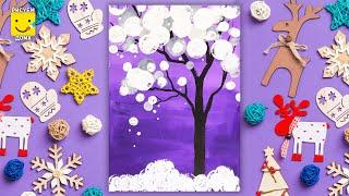 как нарисовать зимнее дерево урок рисования  для детей видео