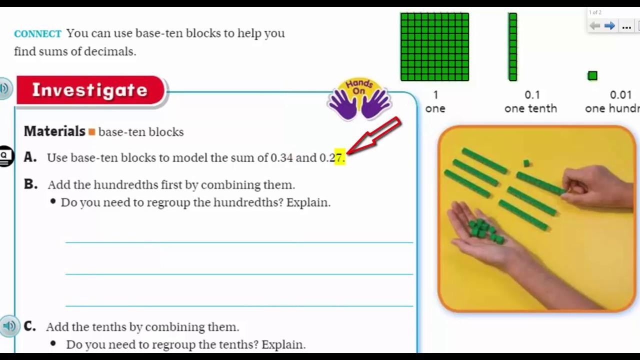 small resolution of Go Math 5th Grade Lesson 3.5 Decimal Addition - YouTube