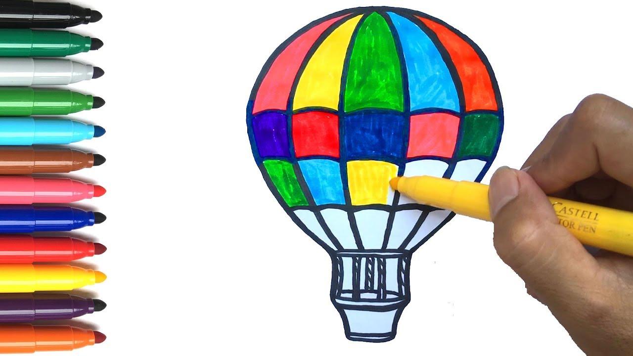 Mewarnai Balon Udara Panas dan Menggambar   Pelajari Warna untuk ...