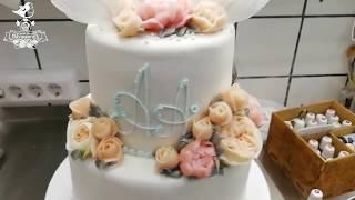 Розы Остина на свадебный торт. Крем шантифлекс chantyflex.