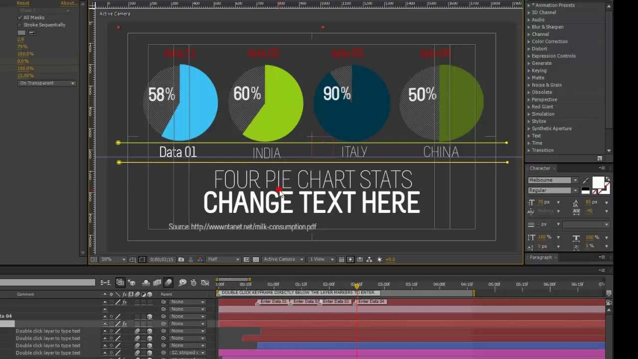 Infographics After Effects Template- Four Pie Charts tutorial - YouTube