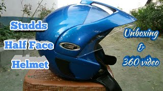 Studds half face helmet blue || unboxing and 360 video