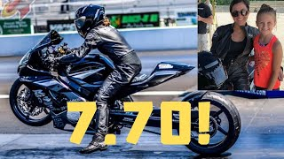 FEMALE MOTORCYCLE DRAG RACER SETS GSXR 1000 ALL MOTOR DRAG BIKE WORLD RECORD AT HER FIRST PRO RACE