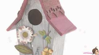 Gifts & Decor Garden Country Cottage Bird House With Flowers And Bird