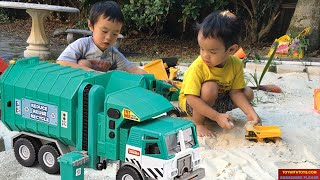 Playing With Green Garbage Truck.  #greengarbagetruck Kid Toy