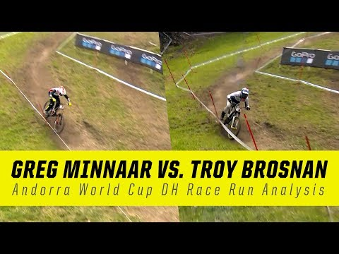 Troy Brosnan vs. Greg Minnaar  Andorra World Cup DH Race Run Analysis