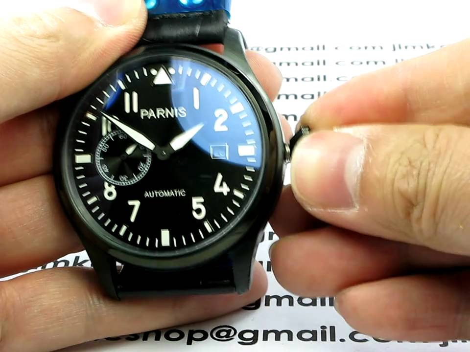 PARNIS PI9 47MM BIG PILOT WITH BLACK CROCO LEATHER BAND ...