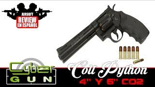 """Colt: Cybergun Colt Python 4"""" y 6"""" Co2 Airsoft Review en Español HD ( Test Shot )"""
