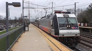Evening NJ Transit and Amtrak trains at Princeton Junction