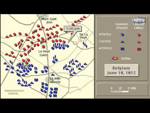 BATTLE OF WATERLOO ANIMATION ON A MAP