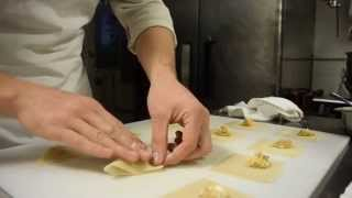 Preparing Goat Cheese Butternut Squash Ravioli with shortrib