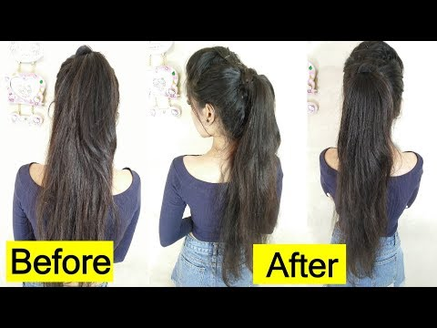 How to: Long Ponytail with puff Without Extension | Easy Ponytail Trick