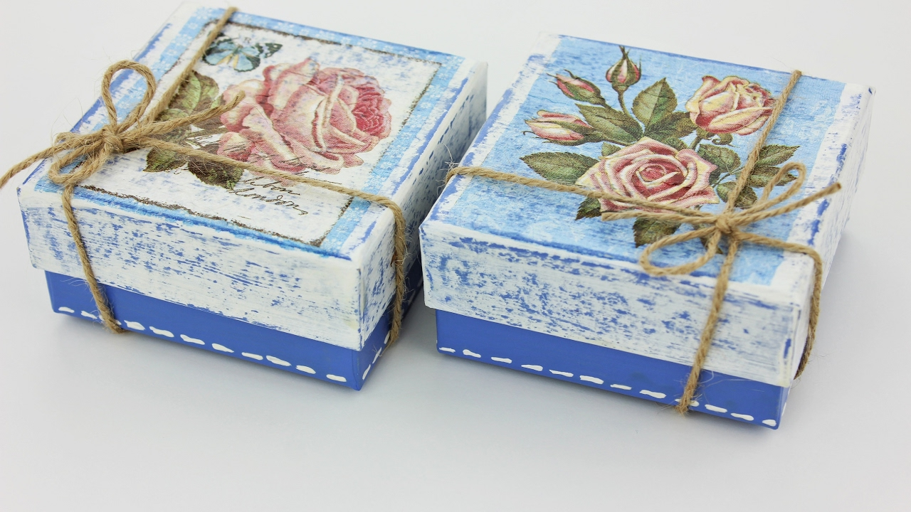 How to make a decoupage box , Painted box , Decoupage cardboard box ,  Decoupage for beginners
