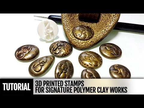 How to use 3D printed sign stamp for signature of your polymer clay works. Video Tutorial!