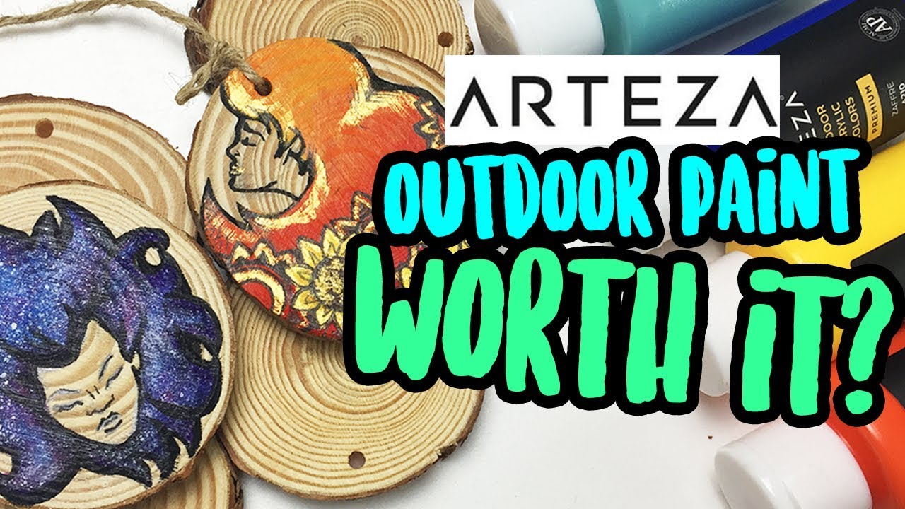 Arteza Outdoor Acrylic Paint Wood Slices Review Diy Galaxy Wooden Ornaments Youtube