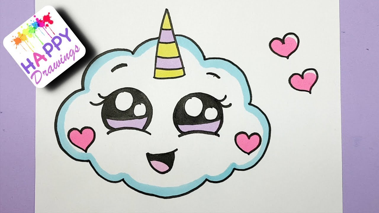 Image of: Pinterest How To Draw Super Cute Cloud Emoji Unicorn Easy Drawing Youtube How To Draw Super Cute Cloud Emoji Unicorn Easy Drawing Youtube