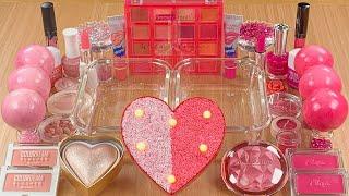 Light Pink VS Hot Pink w CLAY★Mixing Makeup Eyeshadow into SLIME★ASMR★Satisfying Slime Video#047