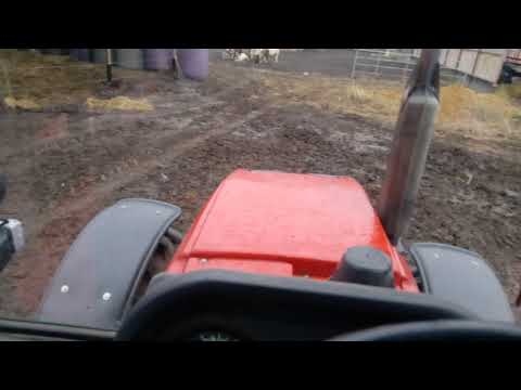 Чищу загон на двух тракторах