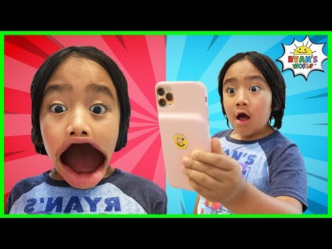 Ryan Pretend Play funny face filters with Family!!!!