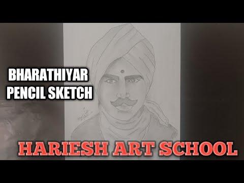 Bharathiyar | pencil sketch | HARIESH ART SCHOOL - YouTube