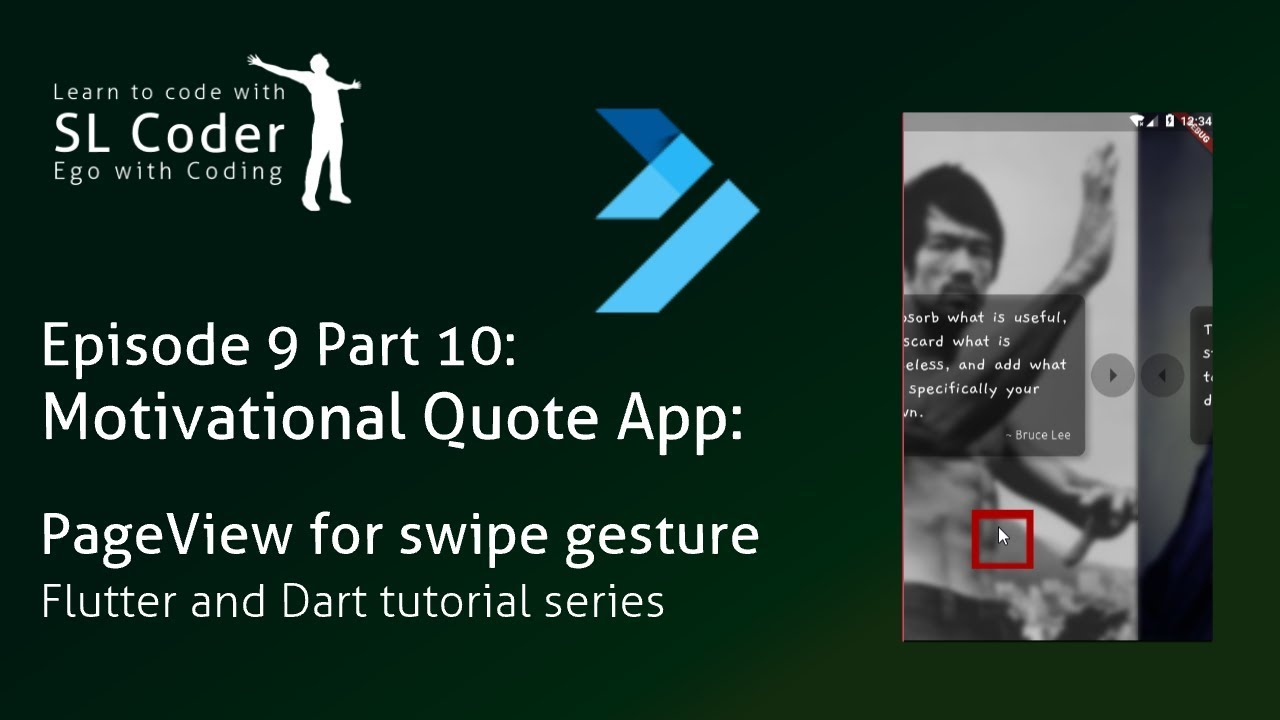 Motiv  quote app: PageView for swipe gesture | Infinite PageView in Flutter  Ep  9 Pt  10