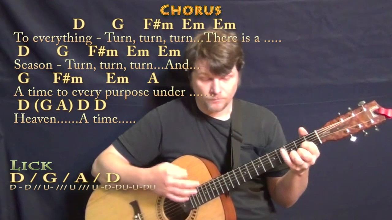 Turn Turn Turn The Byrds Guitar Lesson Chord Chart in D with  Chords/Lyrics