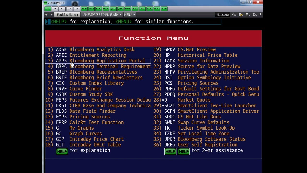 Image result for bloomberg menu terminal functions