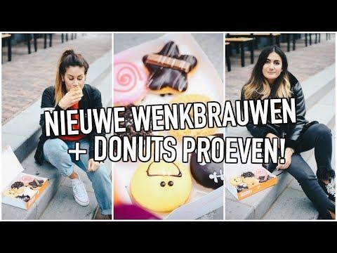 NIEUWE WENKBRAUWEN + DONUTS PROEVEN 🍩 VLOG!