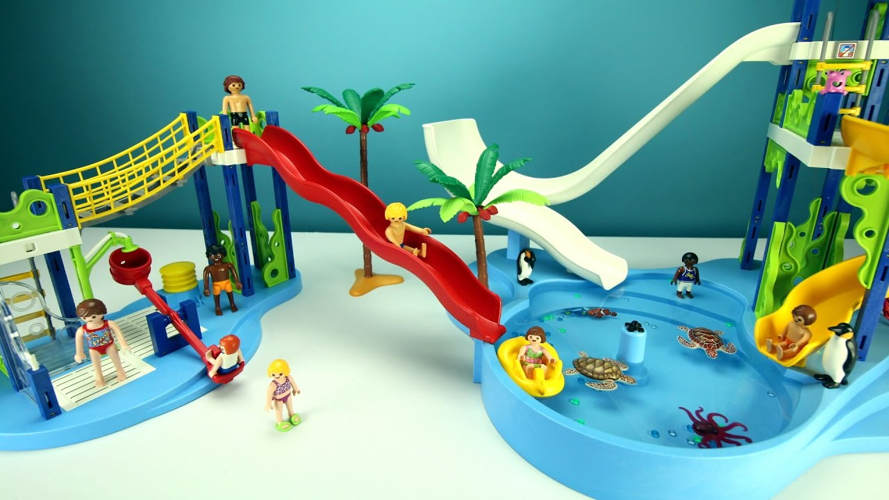 Playmobil Giant Water Park Pool Slide Playset With Sea Doovi