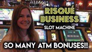 Going to the ATM on Risque Business Slot Machine! Both BONUSES!!!