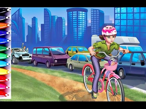 Barbie Thumbelina On Her Bicycle Coloring Book Pages Car Color For Kids
