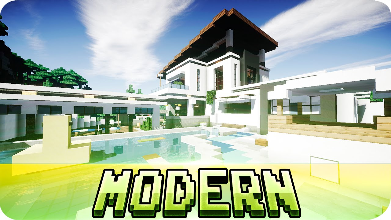 Minecraft beautiful modern house design map w for Modern house map