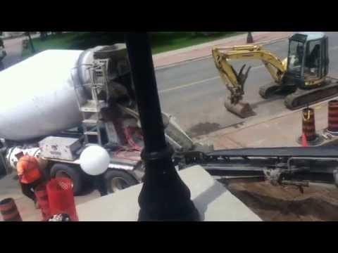Cement Truck Unloading Concrete Using Conveyor Belt