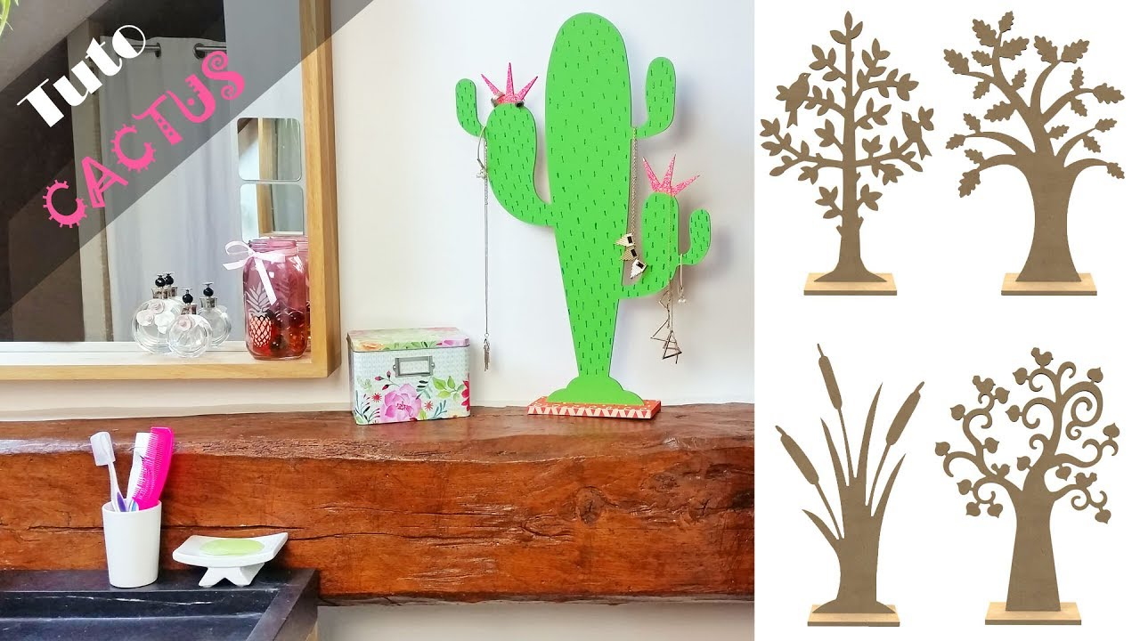 diy tuto d co cactus en bois sur socle et paillettes pour accrocher mes bijoux youtube. Black Bedroom Furniture Sets. Home Design Ideas