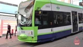 London trams in a pedestrianized zone