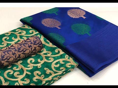 soft-cotton-banarasi-tree-buta-silk-saree-with-double-blouses-||-banarasi-soft-cotton-saree