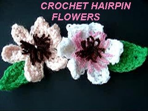 Crochet Flower Pattern Hair Pin Flowers Water Lily Leaf For