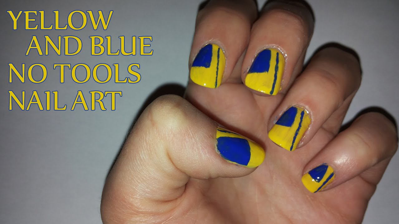 Yellow and Blue No Tools Nail Art - YouTube
