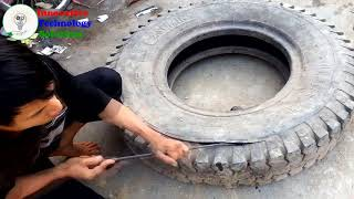Business idea. How to make flower pots from old tires in Vietnam