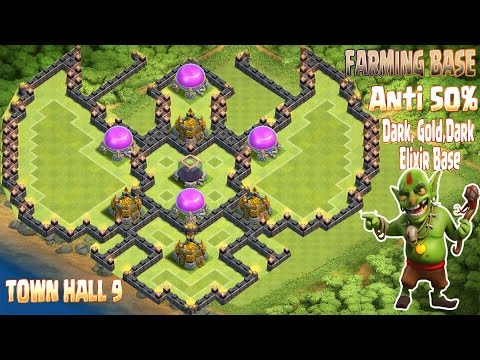 Coc Th9 Farming Base 2016. Town Hall 9 Anti 50% Gold, Dark Elixir Base Clash Of Clans