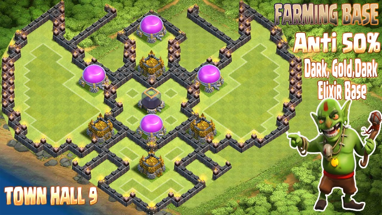 coc th9 farming base 2016 town hall 9 anti 50 gold dark elixir