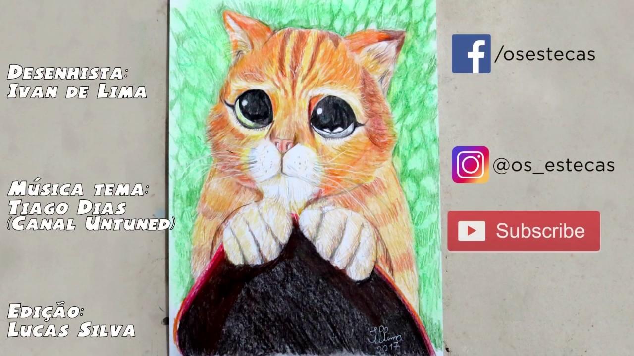 Drawing Puss In Boots Desenhando O Gato De Botas Youtube