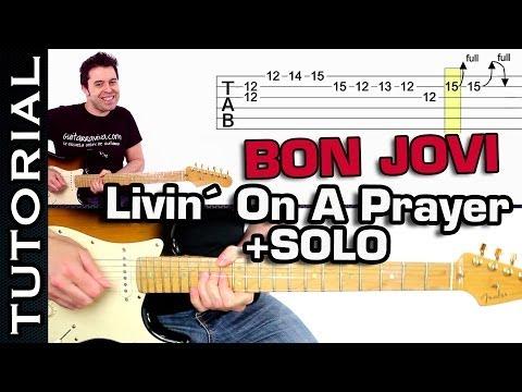 Tocar BON JOVI Livin On A Prayer con SOLO en guitarra muy FÁCIL