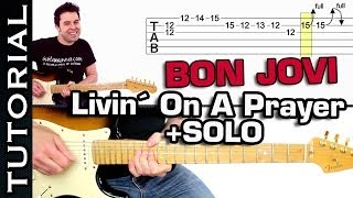 Tocar BON JOVI Livin On A Prayer con SOLO en guitarra muy FÁCIL