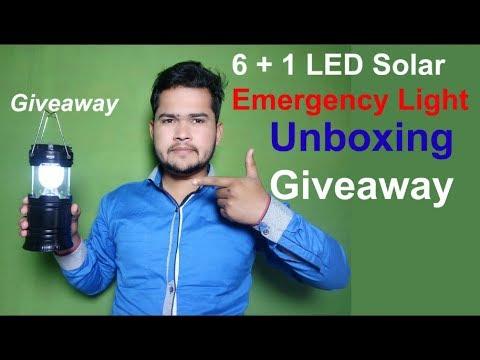 6 + 1 LED 5800T Solar Emergency Light Lantern, USB Mobile Charging Unboxing + Giveaway