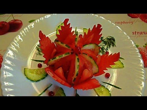 Украшения из огурца помидор и других овощей как делать фото