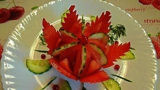 Цветок из помидора и огурца! Украшения из овощей! Decoration of vegetables! Carving vegetables