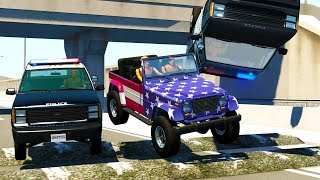 POLICE CHASES INTERRUPTED BY MONSTER SIZED SPEED BUMPS! - BeamNG Drive Crash Test Compilation