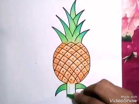 How To Draw A Pineapple Draw And Colour Step By Step #fruits Drawing -  YouTube