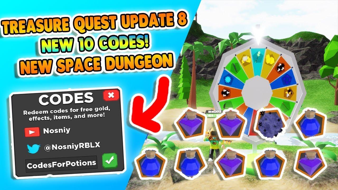Update 8 New Secret Codes Treasure Quest Codes Roblox Youtube